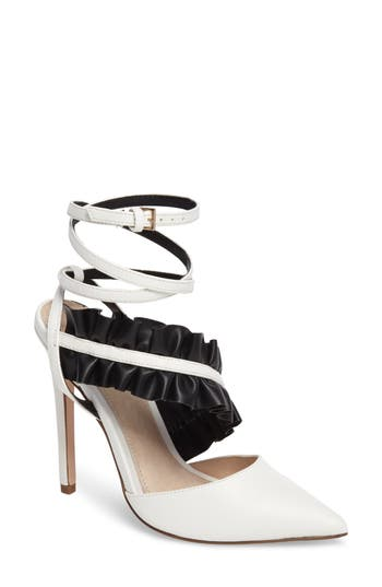 Topshop Grill Frill Ankle Strap Pump - White