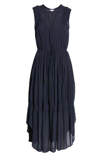 James Perse Pleated A-Line Dress, Blue