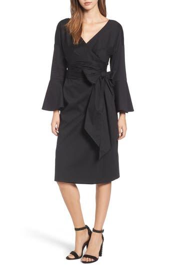 Women's Wayf Wrap Bell Sleeve Dress, Size X-Small - Black