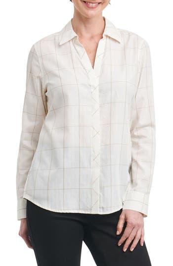 Foxcroft Nicole Windowpane Print Shirt, Ivory