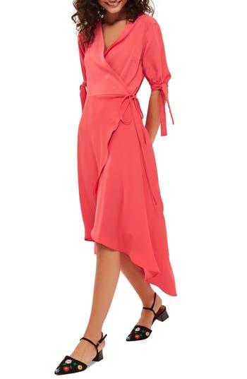 Women's Topshop Dusty Emma Tie Sleeve Wrap Dress, Size 2 US (fits like 0) - Red