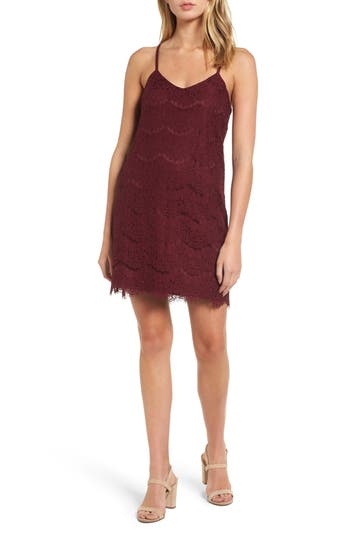 Love, Fire Lace Slipdress, Burgundy