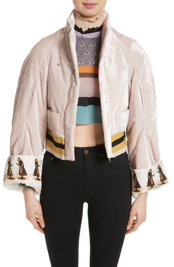 Women's Undercover Crushed Velvet Jacket, Size 2 - Pink
