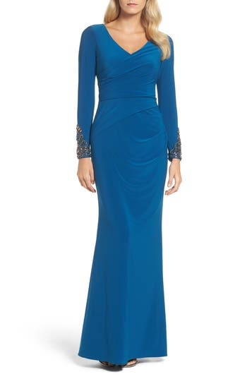 Adrianna Papell Embellished Sleeve Drape Gown, Blue