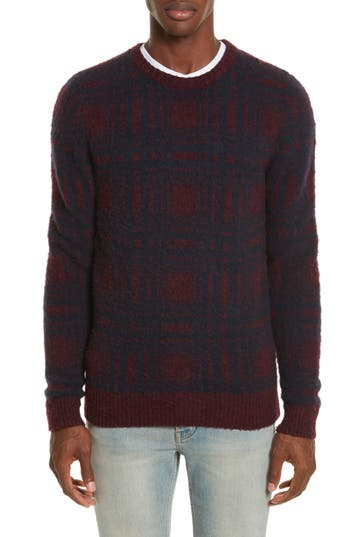 Norse Projects Sam Intarsia Check Wool Sweater, Red