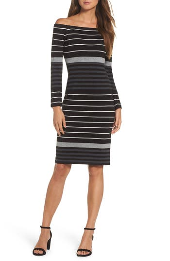 Eliza J Off The Shoulder Stripe Sheath Dress, Black