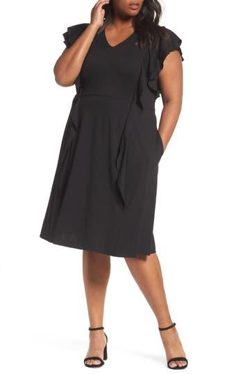 Plus Size Sejour Ruffle Ponte Dress, Black