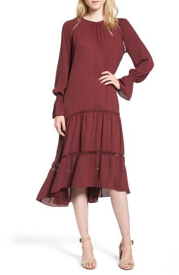 Chelsea28 Drop Waist Midi Dress, Red