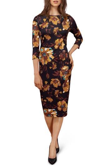 Eci Floral Midi Dress, Yellow