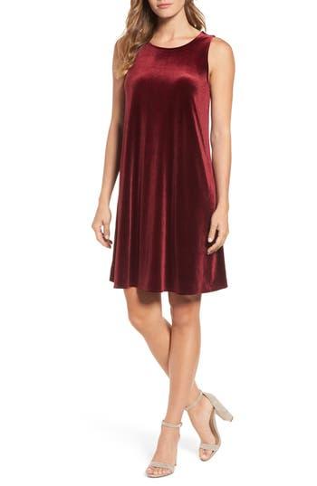Halogen Velvet Trapeze Dress, Burgundy