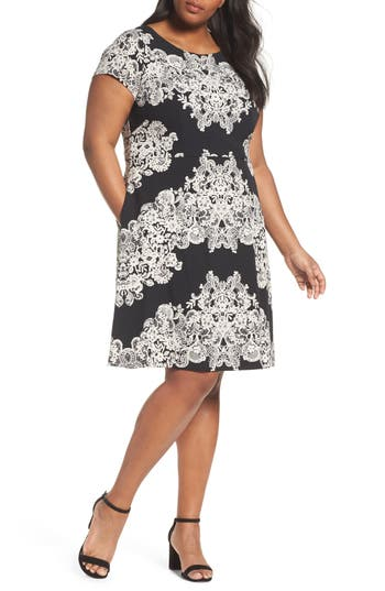 Plus Size Adrianna Papell Print Fit & Flare Dress, Black