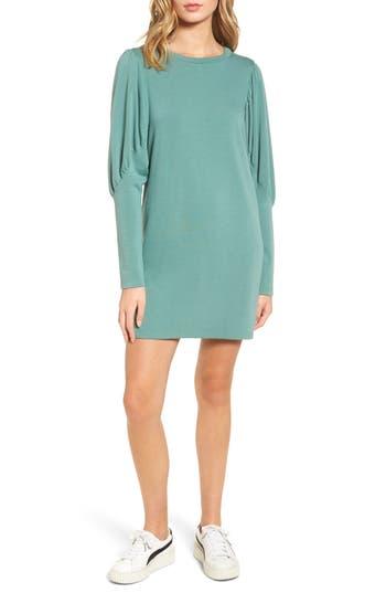 Everly Statement Sleeve Sweatshirt Dress, Green