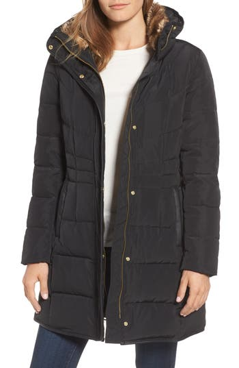 Cole Haan Quilted Down & Feather Fill Jacket With Faux Fur Trim, Black
