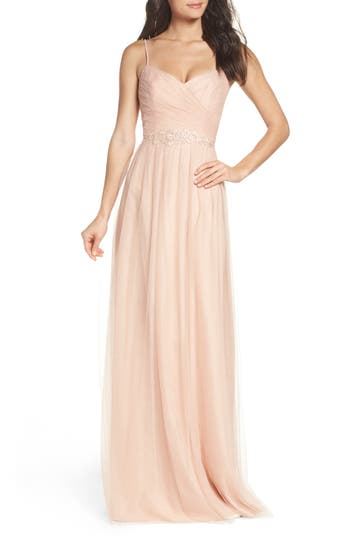 Monique Lhuillier Bridesmaids Brooks Tulle Gown, Pink