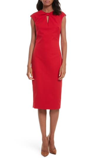 Ted Baker London Kezzia Bow Neck Body-Con Dress, Red