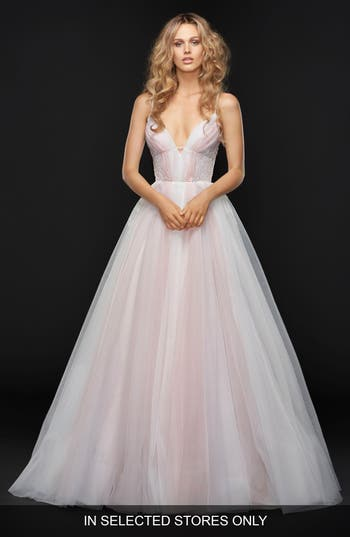 Hayley Paige Hawthorne Sleeveless Tulle Ballgown, Size IN STORE ONLY - White