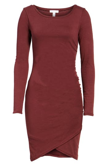 Leith Ruched Long Sleeve Dress, Red