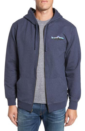 Patagonia Fitz Roy Trout Zip Hoodie, Blue