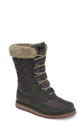 Helly Hansen Arosa Waterproof Boot With Faux Fur Trim- Green