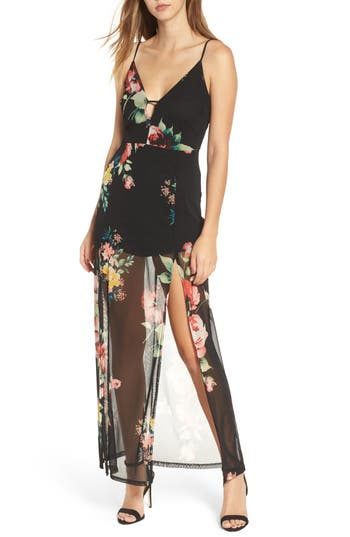 Lush Floral Maxi Dress, Black