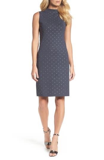 Nic+Zoe Studded Up A-Line Dress, Blue