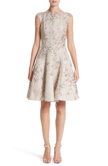 Talbot Runhof Metallic Twig Jacquard Dress, Metallic
