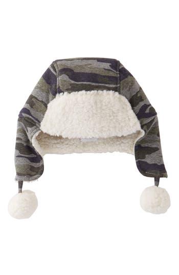 Infant Mud Pie Camo Fleece Hat - Green