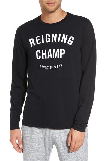 Reigning Champ Gym Logo Long Sleeve T-Shirt, Black