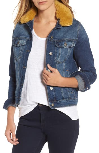 Mavi Jeans Katy Faux Fur Collar Denim Jacket, Blue