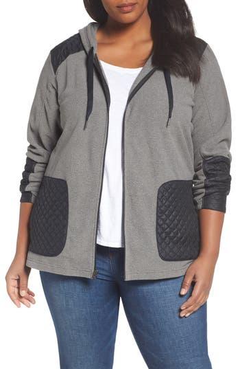 Plus Size Columbia Warm Up Hooded Fleece Jacket, Grey