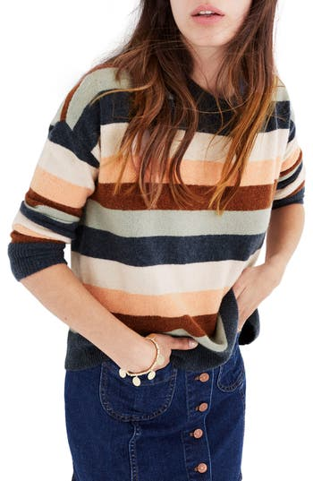 Women's Madewell Elmwood Stripe Pullover Sweater, Size X-Small - Blue
