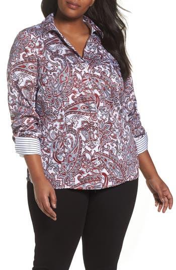 Plus Size Foxcroft Lauren Romantic Paisley Wrinkle-Free Shirt, Red