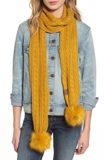 Women's Cc Faux Fur Pompom Knit Scarf, Size One Size - Yellow