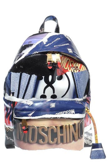 Moschino Editorial Logo Faux Leather Backpack - None