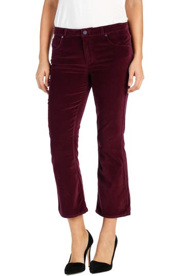 Paige Colette High Waist Crop Flare Velvet Pants, 3 - Red