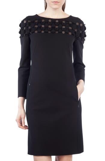 Akris Punto Cutout Dot Shift Dress, Black