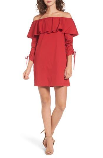 Socialite Cinch Sleeve Off The Shoulder Dress, Red