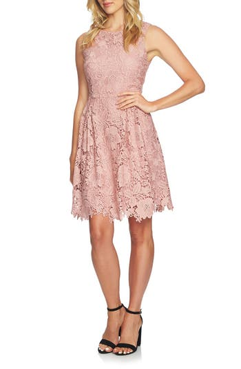 Cece Claiborne Lace A-Line Dress, Pink