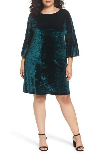 Plus Size Gabby Skye Bell Sleeve Velvet Shift Dress, Green