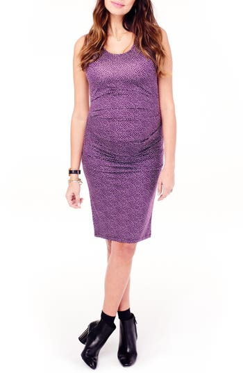Ingrid & Isabel Ruched Maternity Tank Dress, Purple