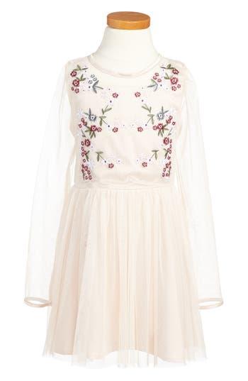 Girl's Bardot Junior Annabelle Embroidered Mesh Dress