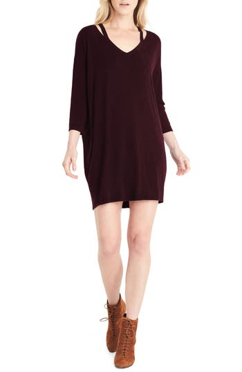 Michael Stars Slit Shoulder V-Neck Dress, Burgundy
