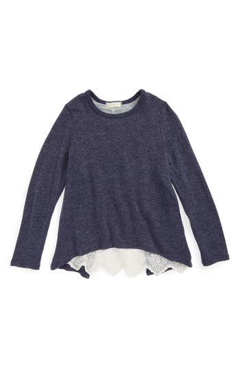 Girl's Soprano Lace Back Sweater, Size S (7-8) - Blue