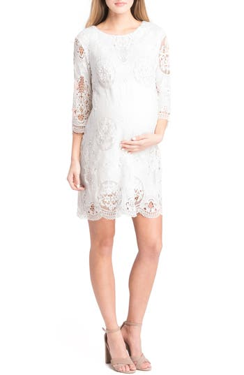 Lilac Clothing Lace Maternity Dress, White