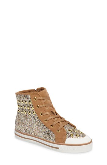 Girls Ash Lita Roe Glittery High Top Sneaker