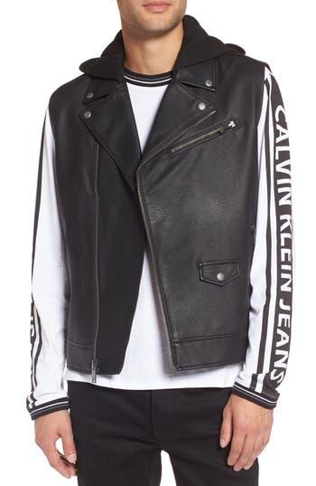 Calvin Klein Jeans Faux Leather Hooded Biker Vest, Black