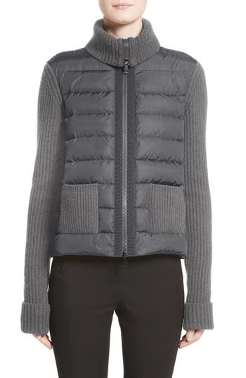Moncler Ciclista Quilted Down Front Sweater Jacket, Grey