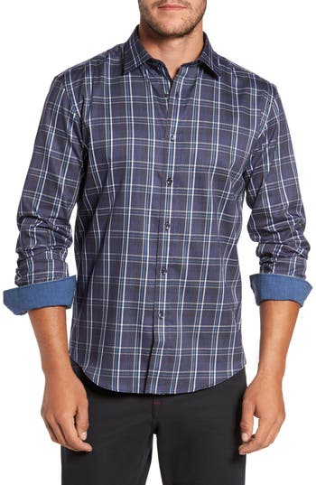 Men's Bugatchi Trim Fit Diamond Weave Windowpane Sport Shirt