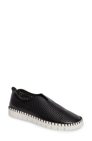 Jeffrey Campbell Tiles Perforated Slip-On Sneaker, Black
