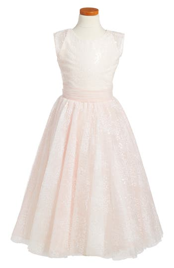 Girl's Joan Calabrese For Mon Cheri Sequin Tulle Dress